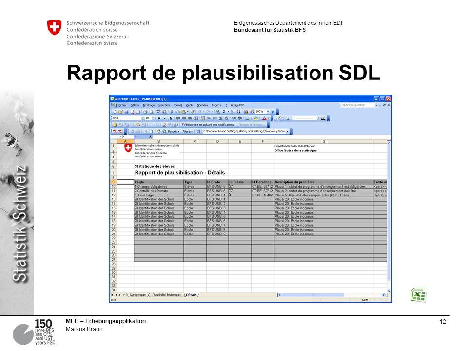 12 MEB – Erhebungsapplikation Markus Braun Eidgenössisches Departement des Innern EDI Bundesamt für Statistik BFS Rapport de plausibilisation SDL