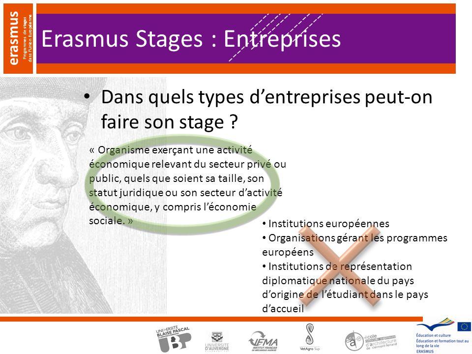 erasmus Programmes de stages dans lUnion Européenne Dans quels types dentreprises peut-on faire son stage .