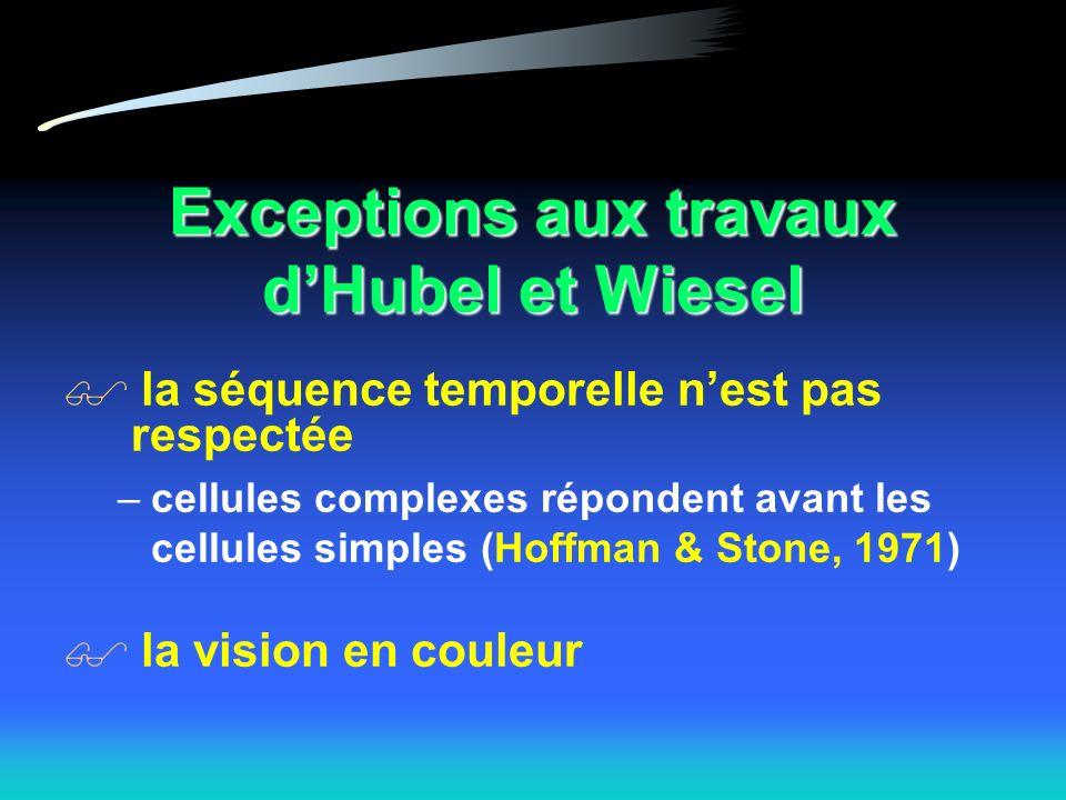 Exceptions aux travaux dHubel et Wiesel la séquence temporelle nest pas respectée –cellules complexes répondent avant les cellules simples (Hoffman & Stone, 1971) la vision en couleur