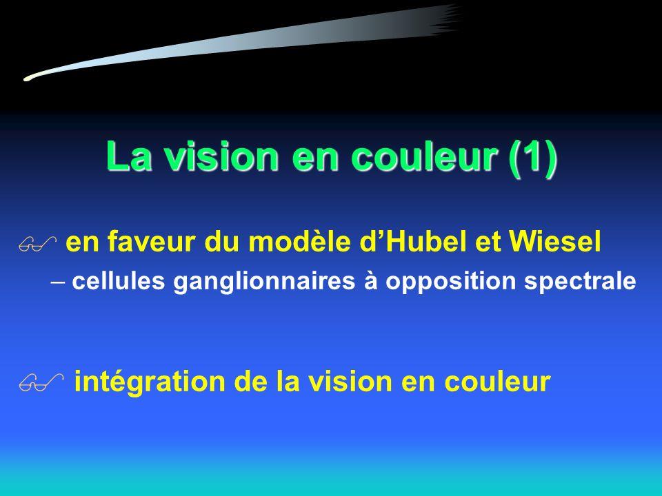 La vision en couleur (1) en faveur du modèle dHubel et Wiesel –cellules ganglionnaires à opposition spectrale intégration de la vision en couleur