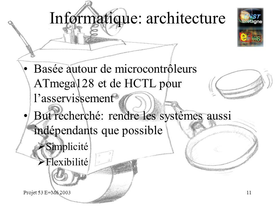 Projet 53 E=M6 200311 Informatique: architecture Basée autour de microcontrôleurs ATmega128 et de HCTL pour lasservissement But recherché: rendre les
