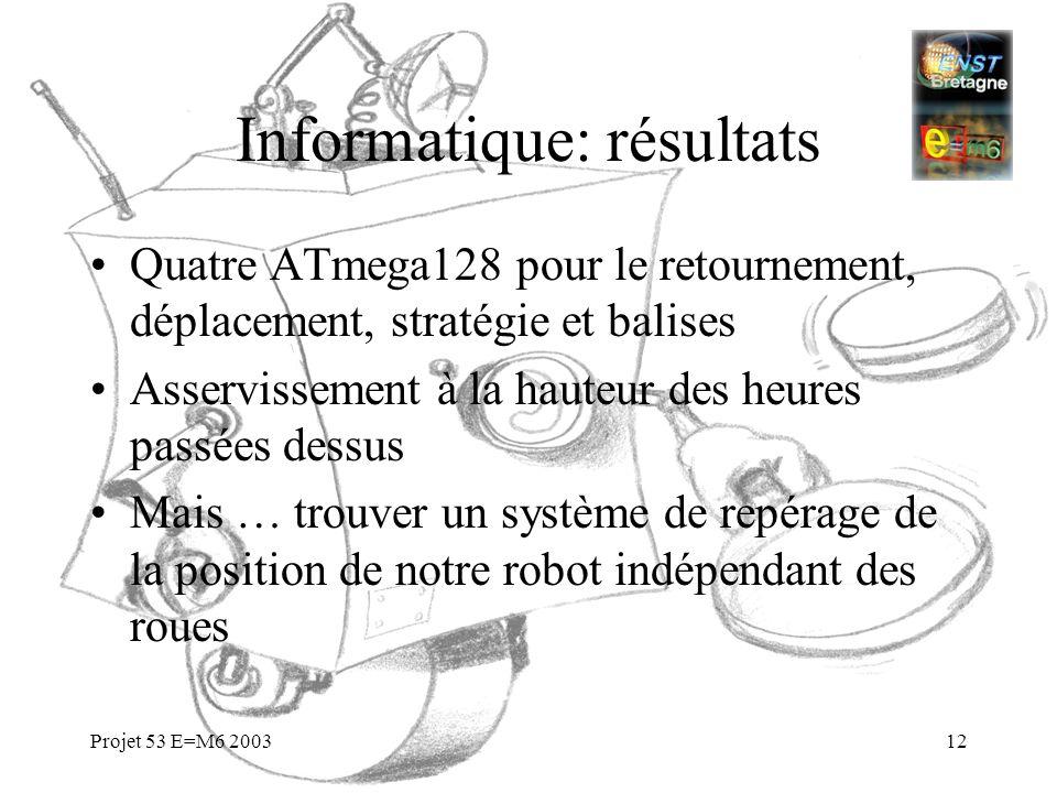 Projet 53 E=M6 200312 Informatique: résultats Quatre ATmega128 pour le retournement, déplacement, stratégie et balises Asservissement à la hauteur des