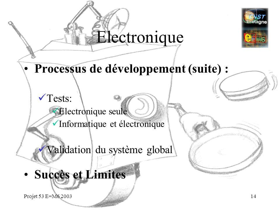 Projet 53 E=M6 200314 Electronique Processus de développement (suite) : Tests: Electronique seule Informatique et électronique Validation du système g