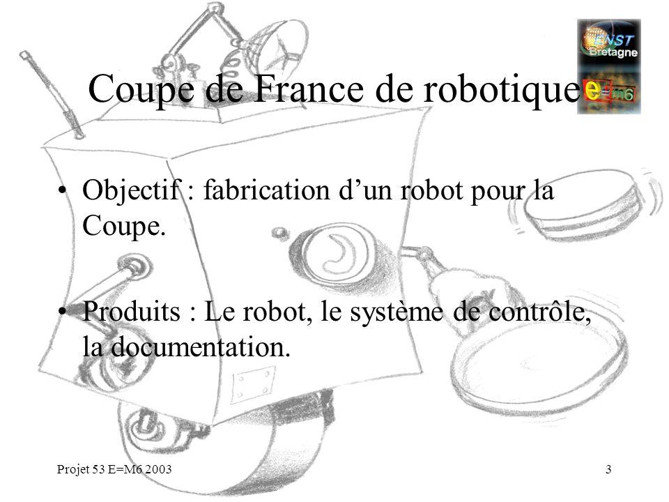 Projet 53 E=M6 20033 Coupe de France de robotique Objectif : fabrication dun robot pour la Coupe. Produits : Le robot, le système de contrôle, la docu