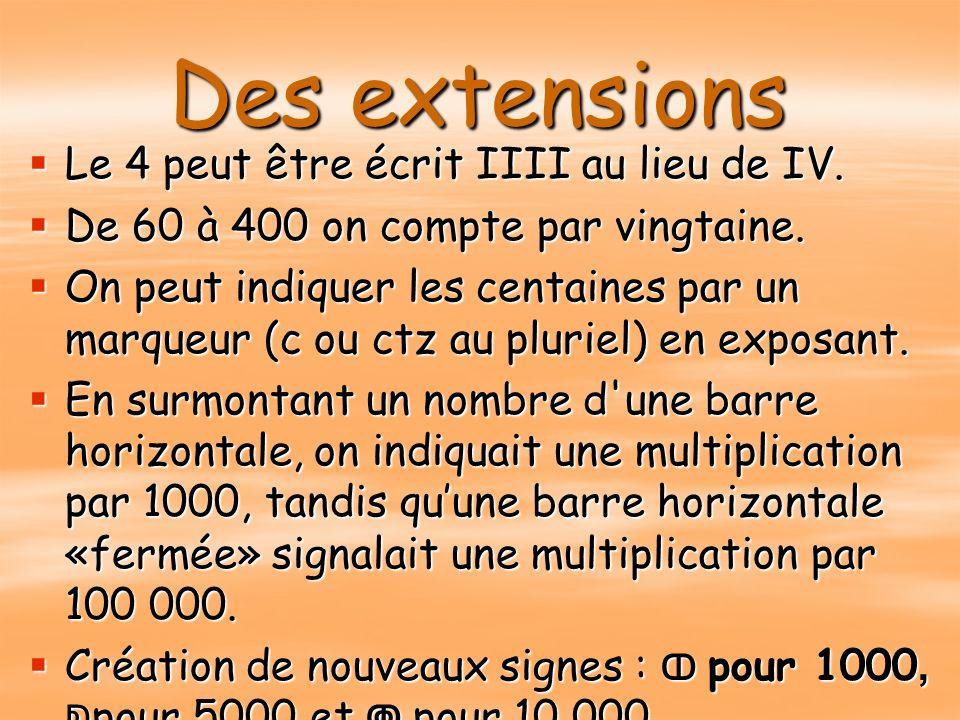 Des extensions Le 4 peut être écrit IIII au lieu de IV. Le 4 peut être écrit IIII au lieu de IV. De 60 à 400 on compte par vingtaine. De 60 à 400 on c