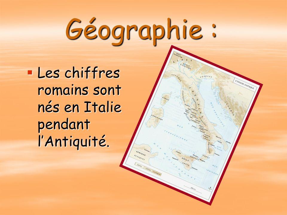 Géographie : Les chiffres romains sont nés en Italie pendant lAntiquité.