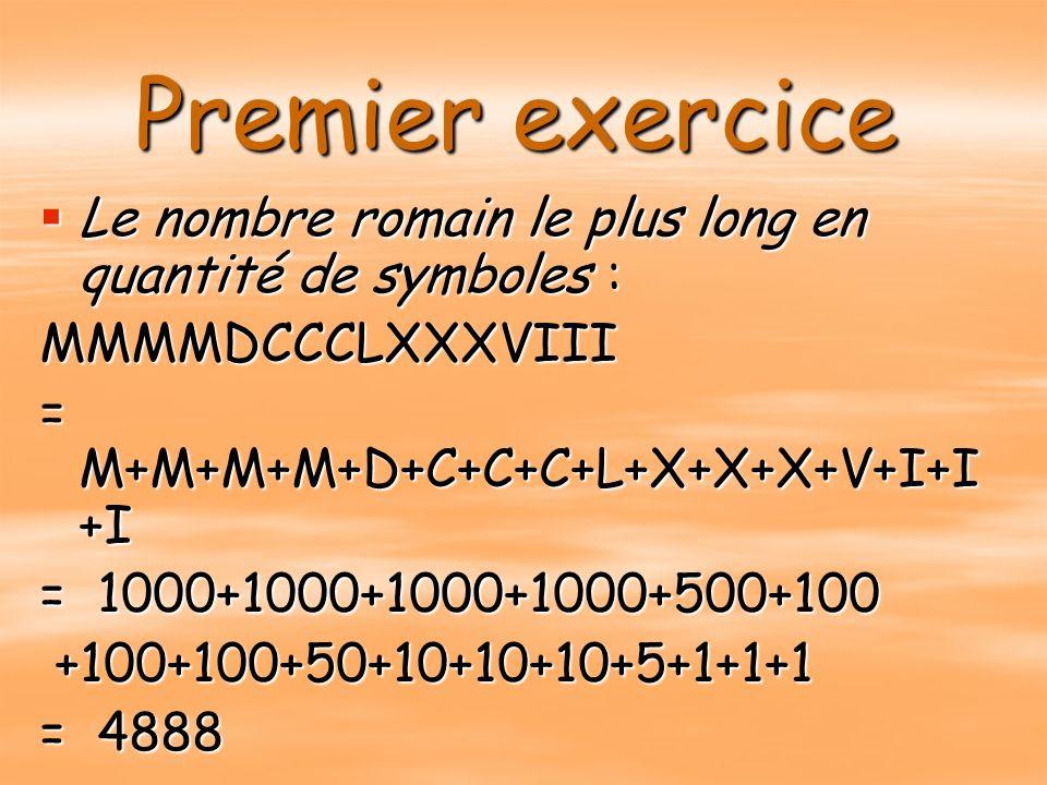 Premier exercice Le nombre romain le plus long en quantité de symboles : Le nombre romain le plus long en quantité de symboles :MMMMDCCCLXXXVIII = M+M+M+M+D+C+C+C+L+X+X+X+V+I+I +I = 1000+1000+1000+1000+500+100 +100+100+50+10+10+10+5+1+1+1 +100+100+50+10+10+10+5+1+1+1 = 4888