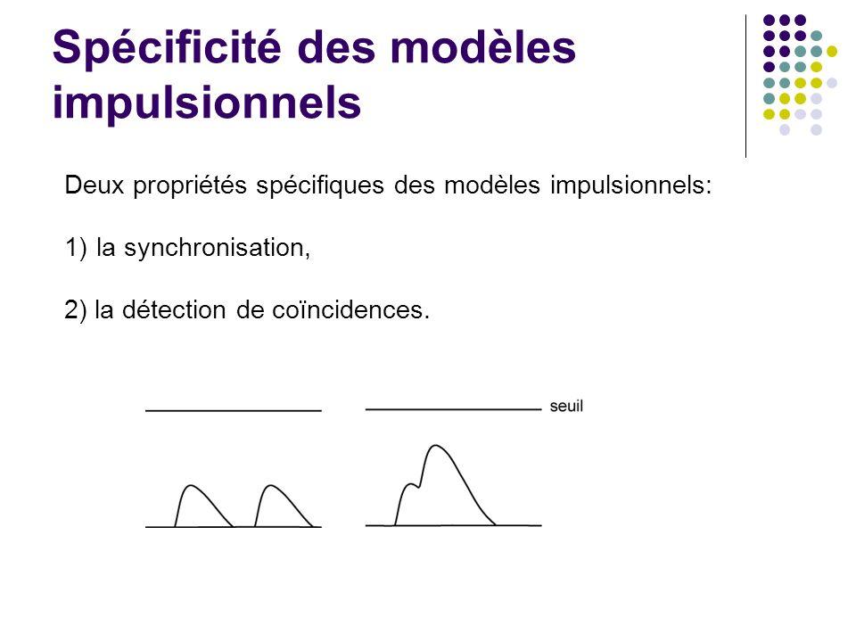 Spécificité des modèles impulsionnels Deux propriétés spécifiques des modèles impulsionnels: 1)la synchronisation, 2) la détection de coïncidences.