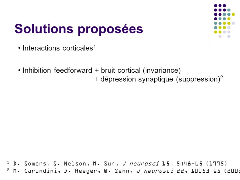 Solutions proposées Interactions corticales 1 Inhibition feedforward + bruit cortical (invariance) + dépression synaptique (suppression) 2 1 D. Somers