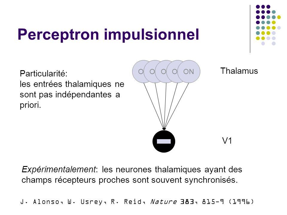 Perceptron impulsionnel ON Thalamus V1 Particularité: les entrées thalamiques ne sont pas indépendantes a priori.