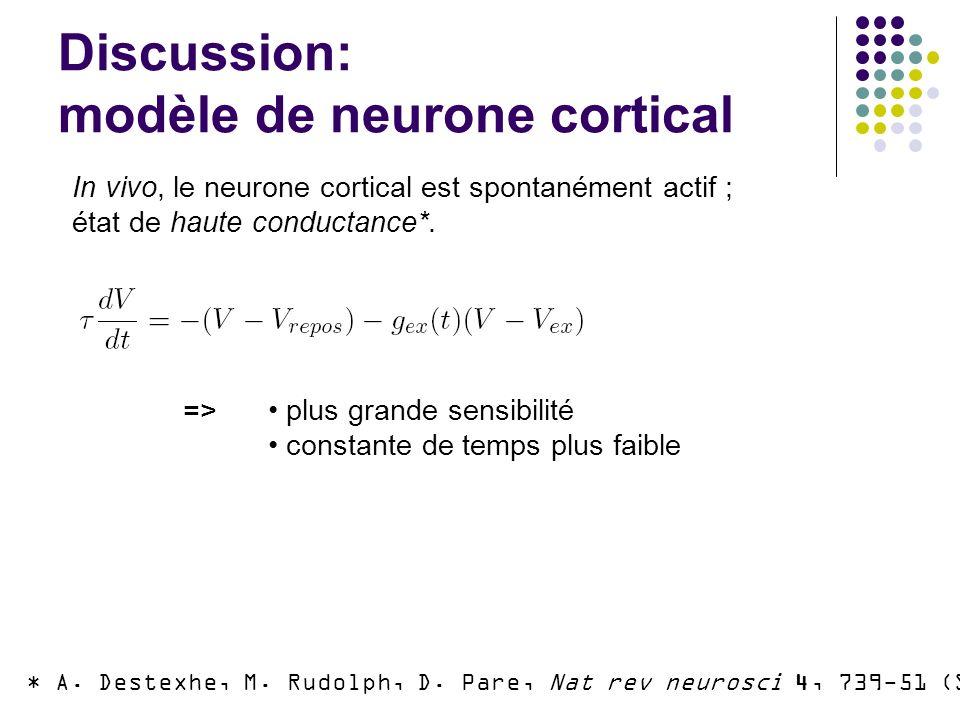Discussion: modèle de neurone cortical * A.Destexhe, M.
