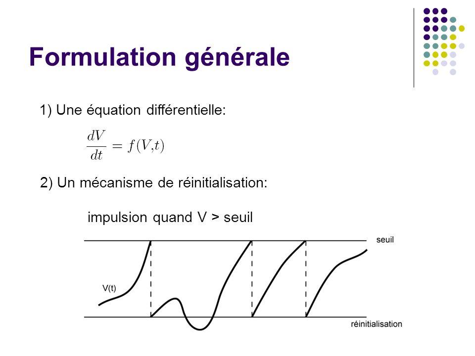 Formulation générale 1) Une équation différentielle: 2) Un mécanisme de réinitialisation: impulsion quand V > seuil