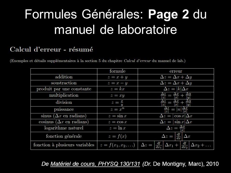 Formules Générales: Page 2 du manuel de laboratoire De Matériel de cours, PHYSQ 130/131 (Dr.