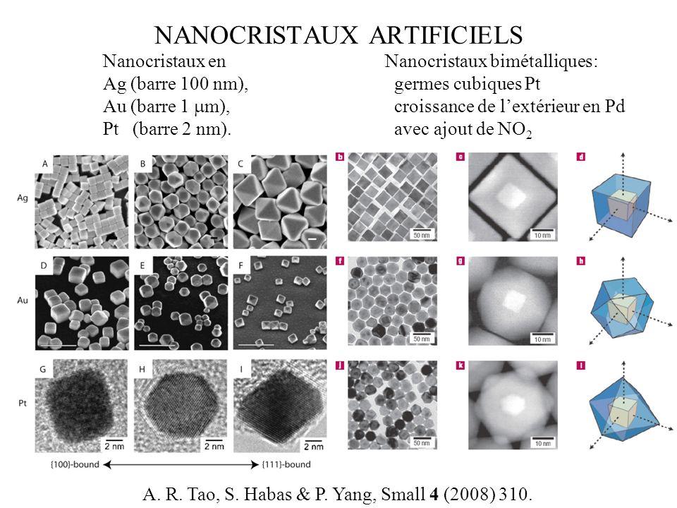 NANOCRISTAUX ARTIFICIELS Nanocristaux bimétalliques: germes cubiques Pt croissance de lextérieur en Pd avec ajout de NO 2 Nanocristaux en Ag (barre 10