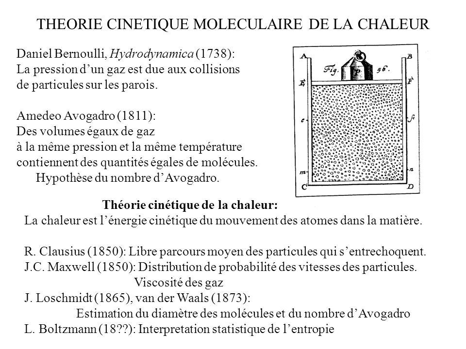 THEORIE CINETIQUE MOLECULAIRE DE LA CHALEUR 001 011101 111 Daniel Bernoulli, Hydrodynamica (1738): La pression dun gaz est due aux collisions de parti