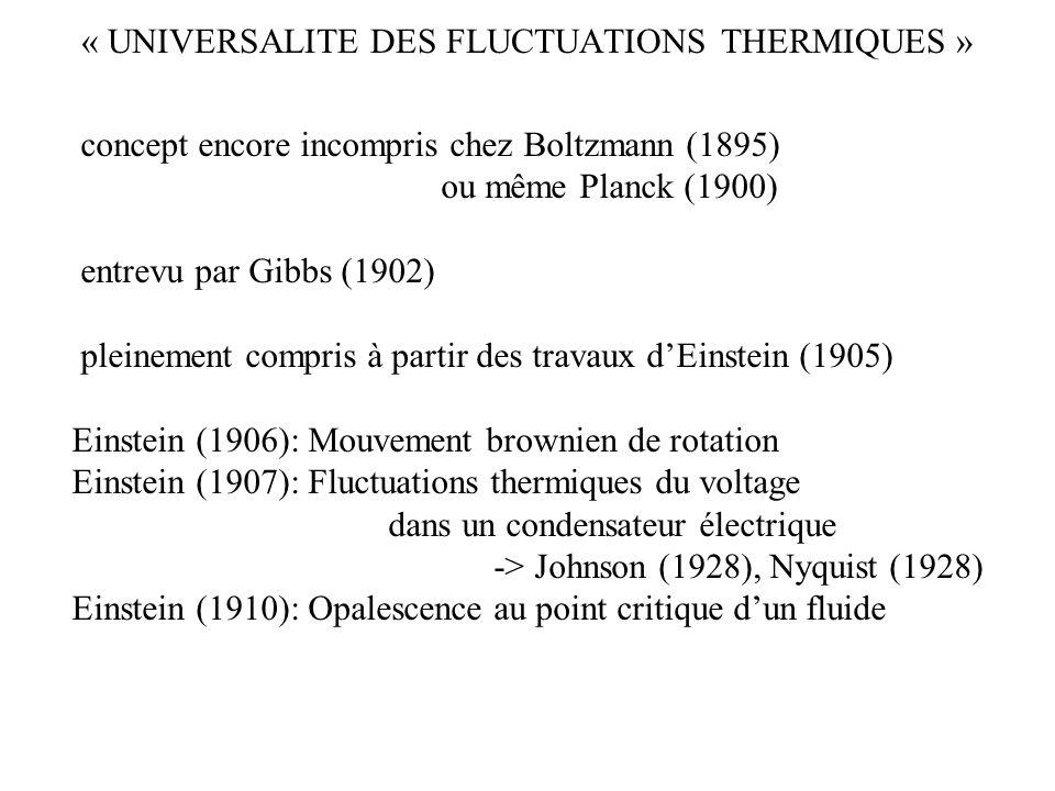 « UNIVERSALITE DES FLUCTUATIONS THERMIQUES » 001 011101 111 concept encore incompris chez Boltzmann (1895) ou même Planck (1900) entrevu par Gibbs (19