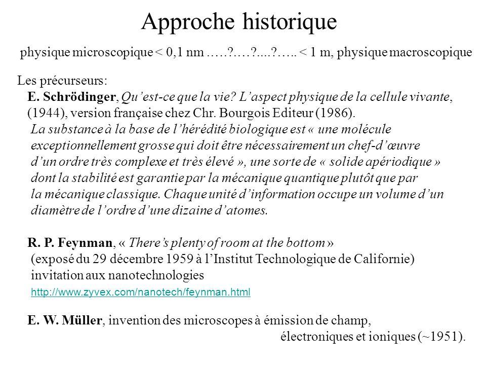 Approche historique physique microscopique < 0,1 nm.….?.…?....?….. < 1 m, physique macroscopique Les précurseurs: E. Schrödinger, Quest-ce que la vie?