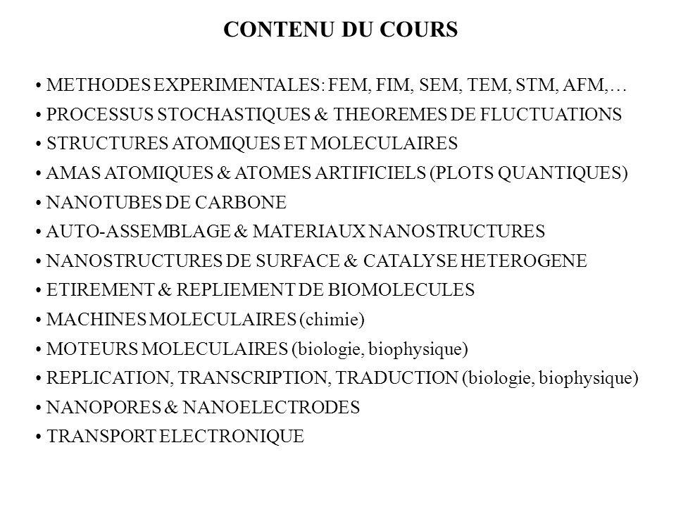 CONTENU DU COURS METHODES EXPERIMENTALES: FEM, FIM, SEM, TEM, STM, AFM,… PROCESSUS STOCHASTIQUES & THEOREMES DE FLUCTUATIONS STRUCTURES ATOMIQUES ET M