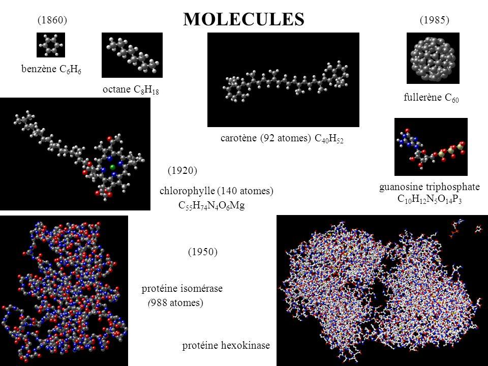 MOLECULES benzène C 6 H 6 octane C 8 H 18 fullerène C 60 carotène (92 atomes) C 40 H 52 guanosine triphosphate C 10 H 12 N 5 O 14 P 3 chlorophylle (14