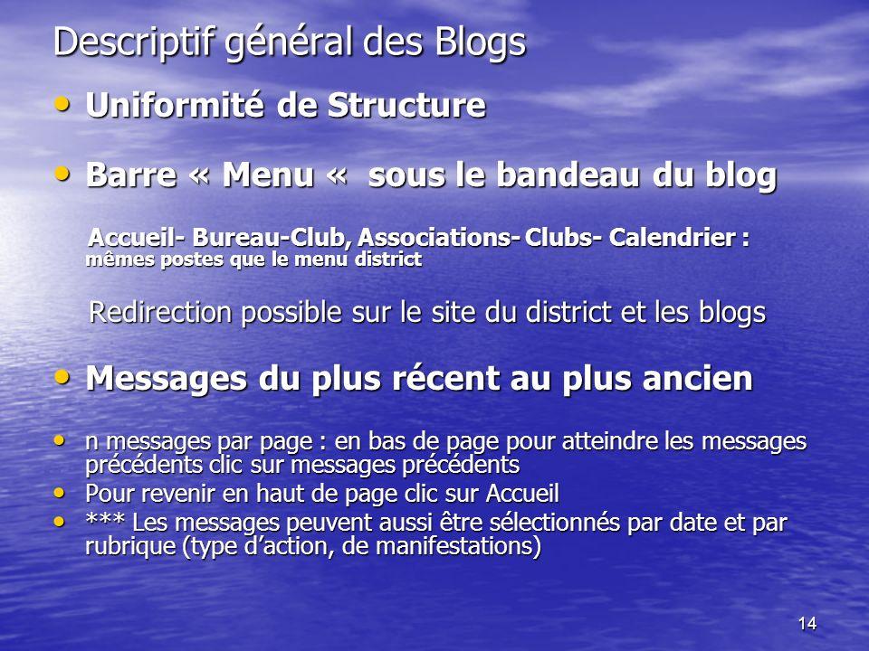 14 Descriptif général des Blogs Uniformité de Structure Uniformité de Structure Barre « Menu « sous le bandeau du blog Barre « Menu « sous le bandeau