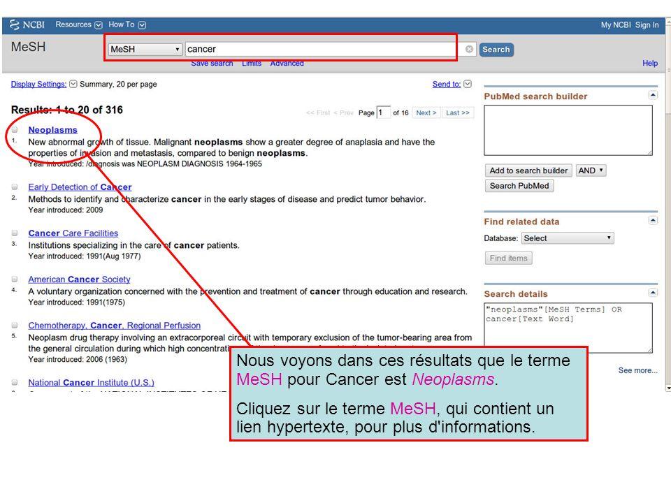 Nous voyons dans ces résultats que le terme MeSH pour Cancer est Neoplasms. Cliquez sur le terme MeSH, qui contient un lien hypertexte, pour plus d'in