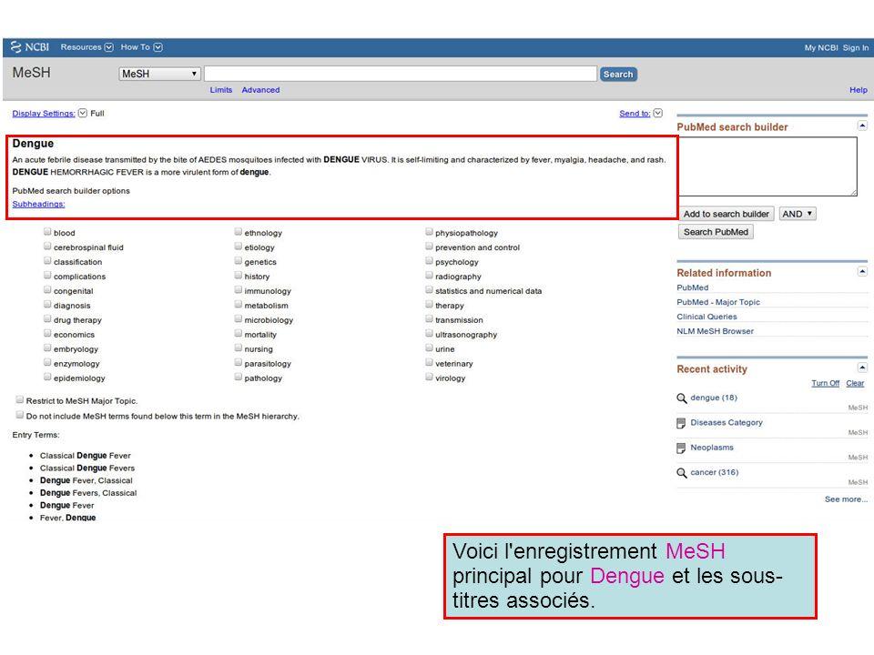 Voici l'enregistrement MeSH principal pour Dengue et les sous- titres associés.