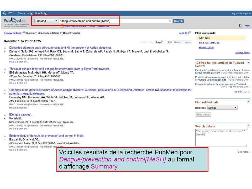 Voici les résultats de la recherche PubMed pour Dengue/prevention and control[MeSH] au format d'affichage Summary.