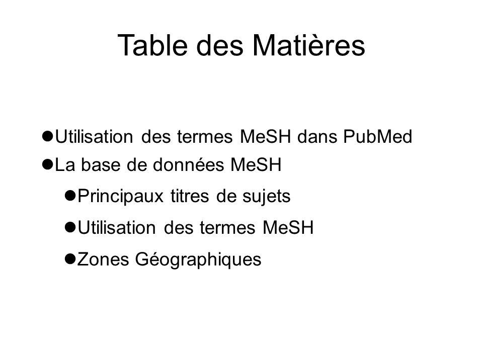 Table des Matières Utilisation des termes MeSH dans PubMed La base de données MeSH Principaux titres de sujets Utilisation des termes MeSH Zones Géogr