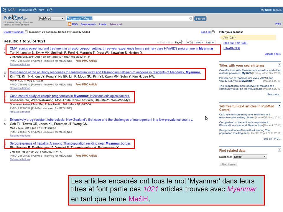 Les articles encadrés ont tous le mot 'Myanmar' dans leurs titres et font partie des 1021 articles trouvés avec Myanmar en tant que terme MeSH.