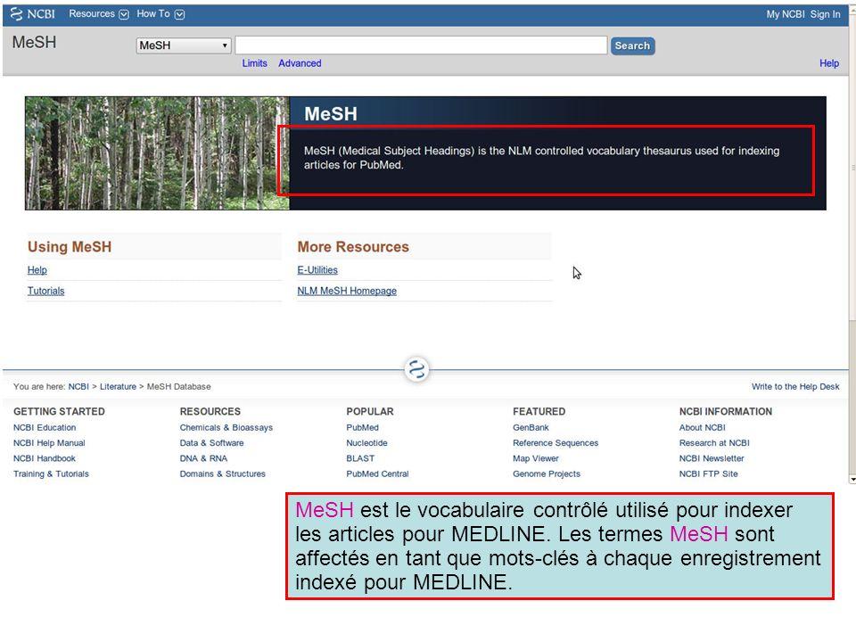 MeSH est le vocabulaire contrôlé utilisé pour indexer les articles pour MEDLINE. Les termes MeSH sont affectés en tant que mots-clés à chaque enregist
