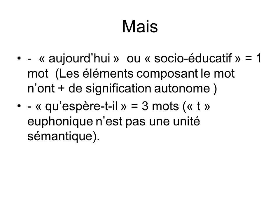 Mais - « aujourdhui » ou « socio-éducatif » = 1 mot (Les éléments composant le mot nont + de signification autonome ) - « quespère-t-il » = 3 mots (« t » euphonique nest pas une unité sémantique).