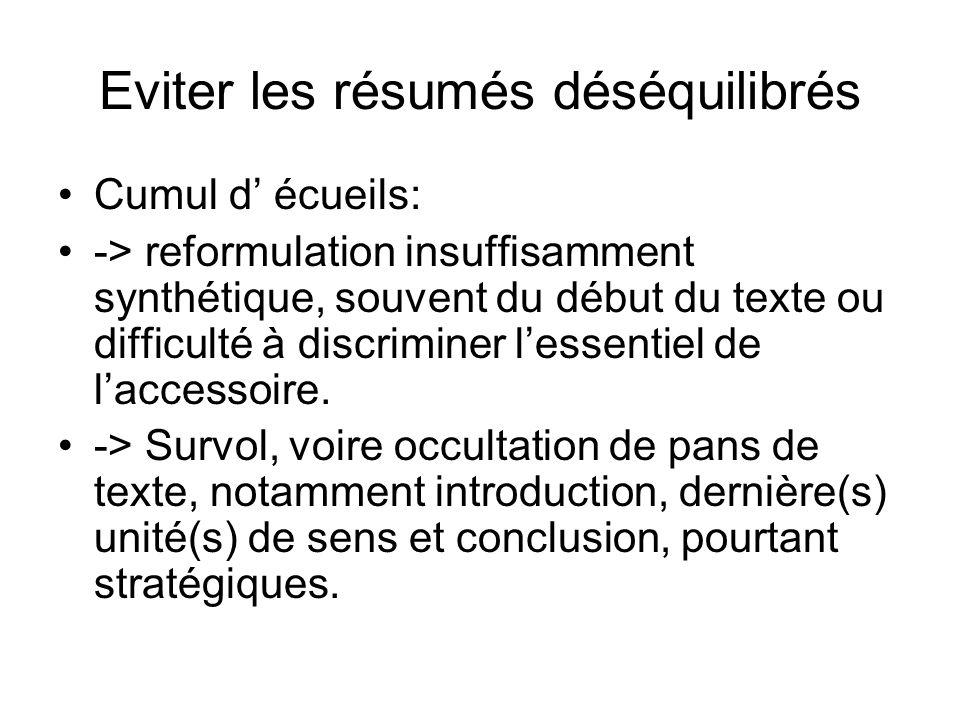 Eviter les résumés déséquilibrés Cumul d écueils: -> reformulation insuffisamment synthétique, souvent du début du texte ou difficulté à discriminer lessentiel de laccessoire.