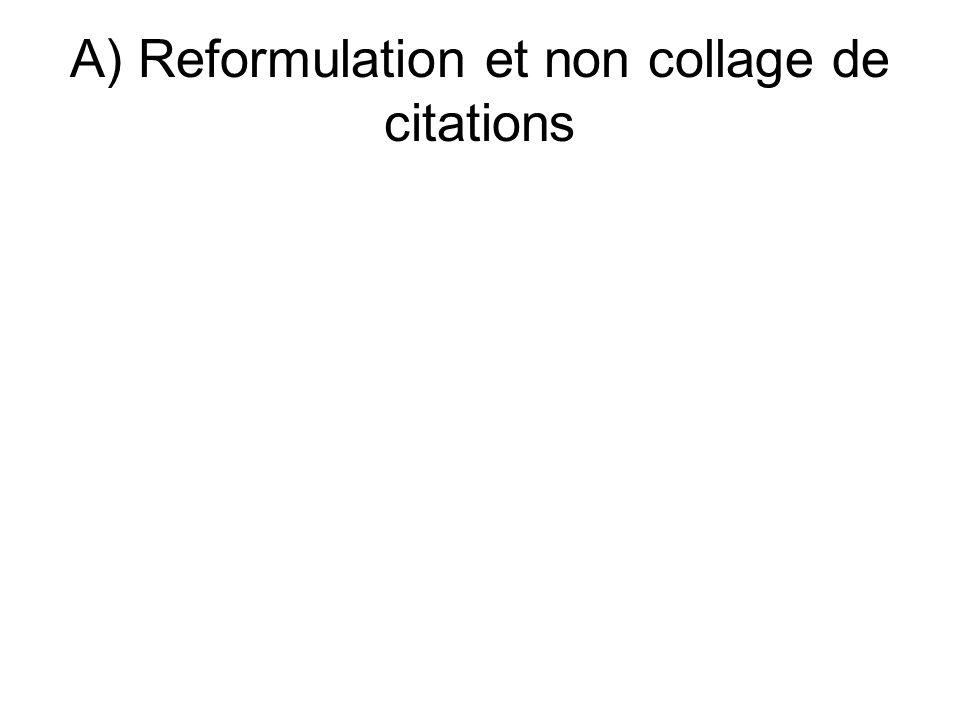 A) Reformulation et non collage de citations