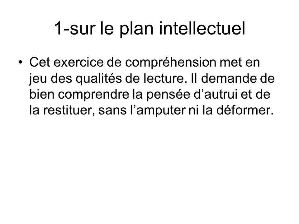 1-sur le plan intellectuel Cet exercice de compréhension met en jeu des qualités de lecture.
