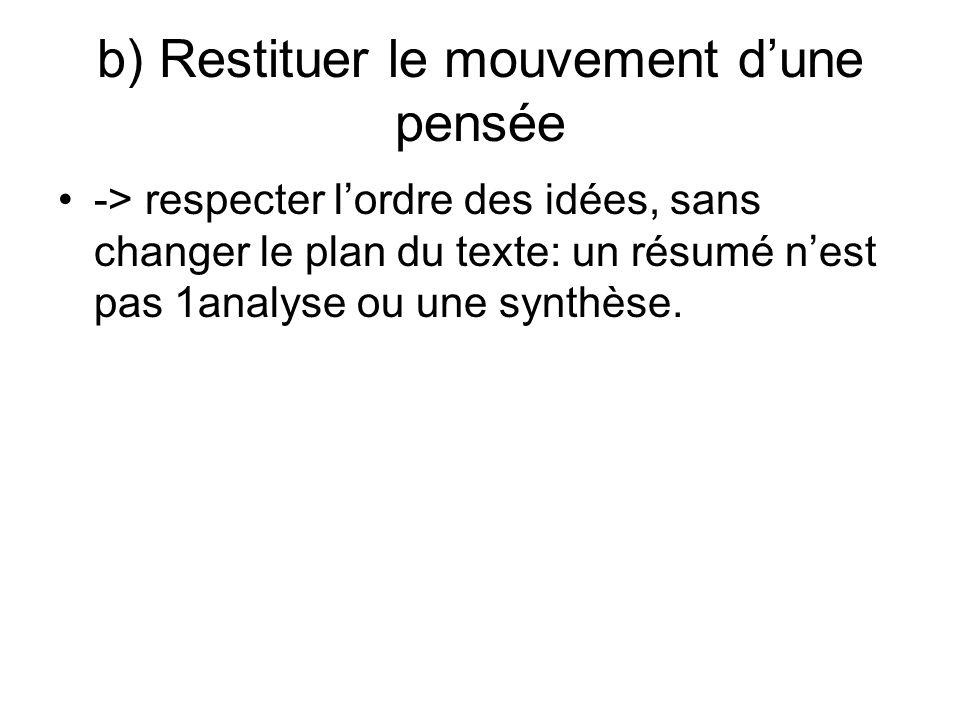 b) Restituer le mouvement dune pensée -> respecter lordre des idées, sans changer le plan du texte: un résumé nest pas 1analyse ou une synthèse.