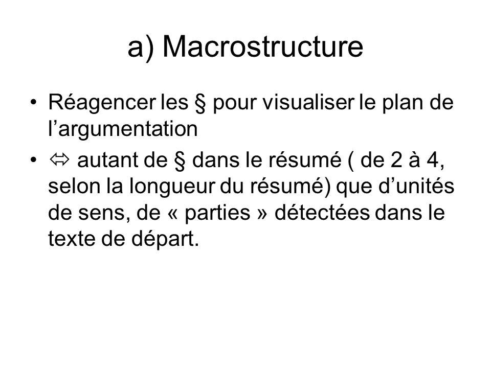 a) Macrostructure Réagencer les § pour visualiser le plan de largumentation autant de § dans le résumé ( de 2 à 4, selon la longueur du résumé) que dunités de sens, de « parties » détectées dans le texte de départ.