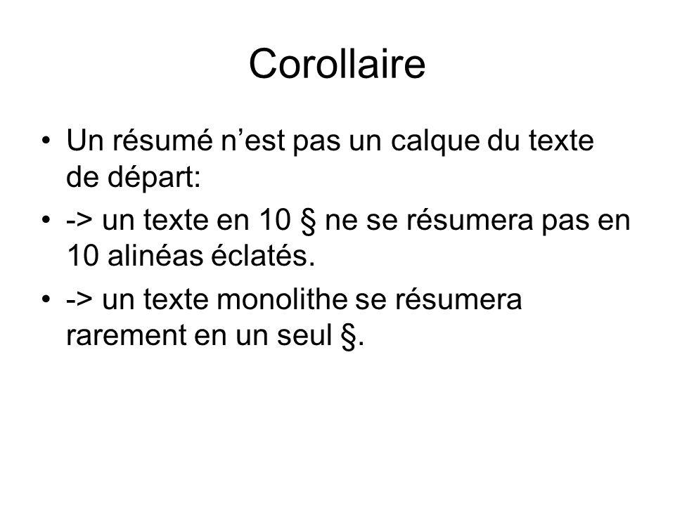 Corollaire Un résumé nest pas un calque du texte de départ: -> un texte en 10 § ne se résumera pas en 10 alinéas éclatés.