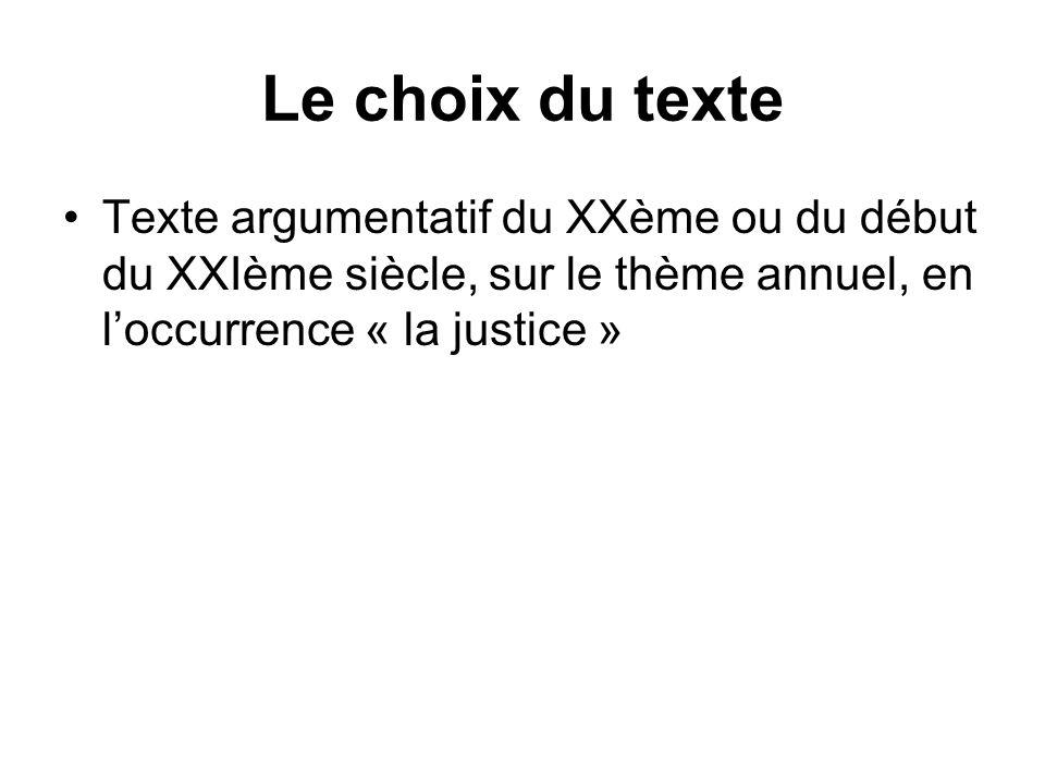 Le choix du texte Texte argumentatif du XXème ou du début du XXIème siècle, sur le thème annuel, en loccurrence « la justice »