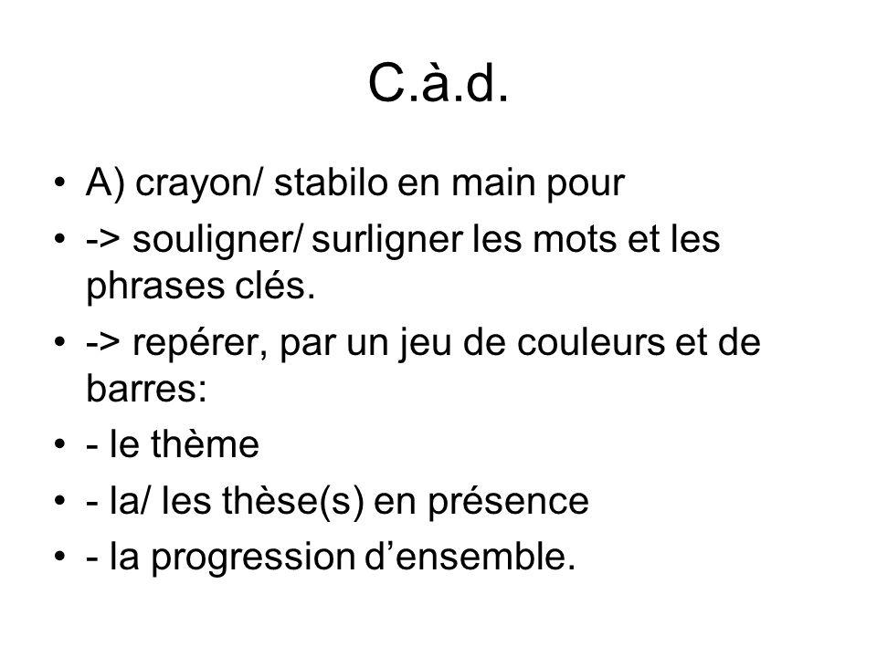 C.à.d.A) crayon/ stabilo en main pour -> souligner/ surligner les mots et les phrases clés.