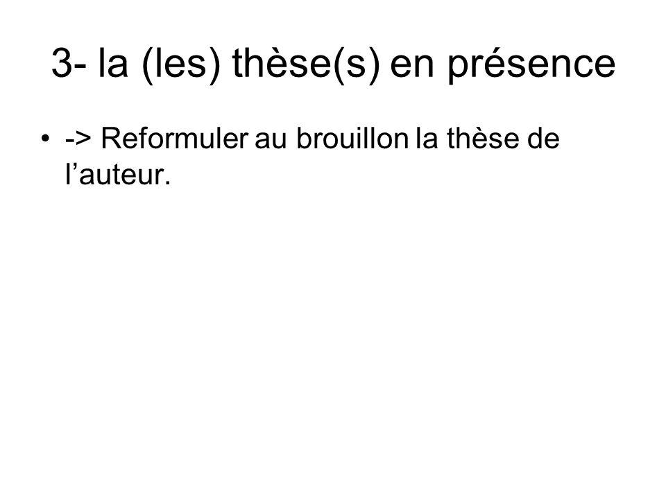 3- la (les) thèse(s) en présence -> Reformuler au brouillon la thèse de lauteur.