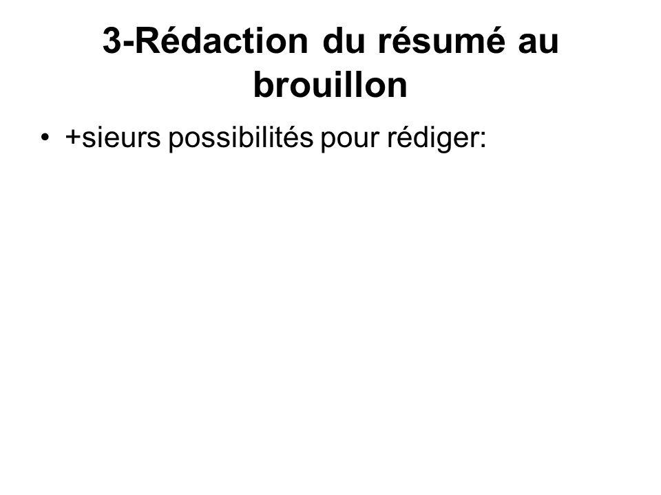 3-Rédaction du résumé au brouillon +sieurs possibilités pour rédiger: