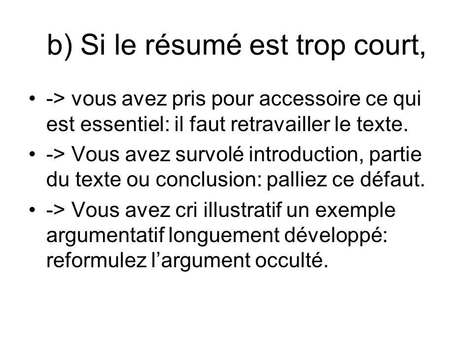 b) Si le résumé est trop court, -> vous avez pris pour accessoire ce qui est essentiel: il faut retravailler le texte.