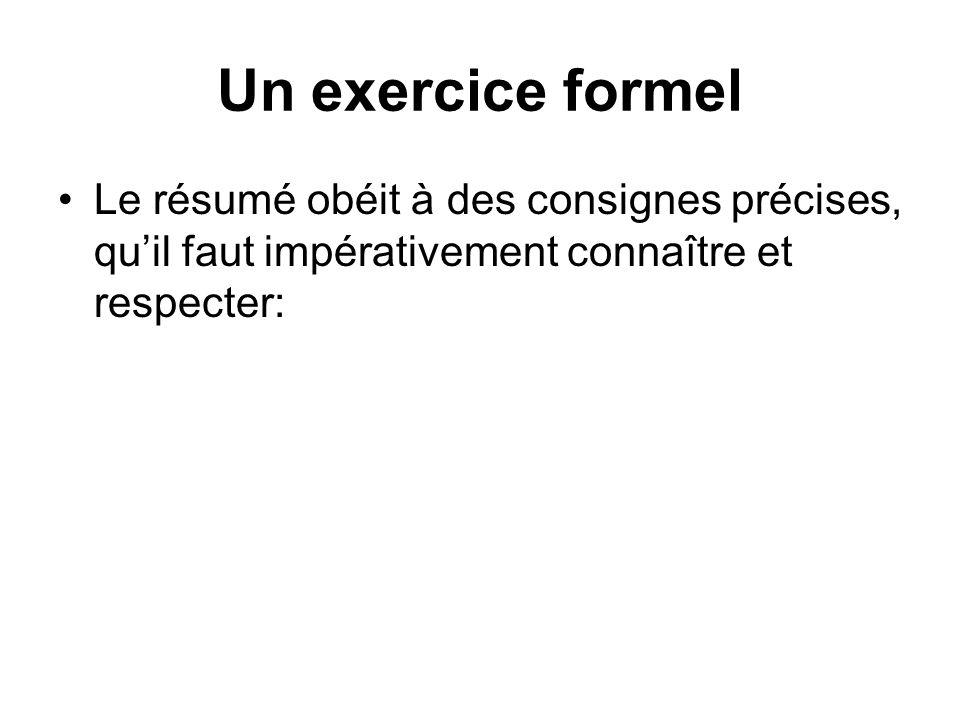 Un exercice formel Le résumé obéit à des consignes précises, quil faut impérativement connaître et respecter: