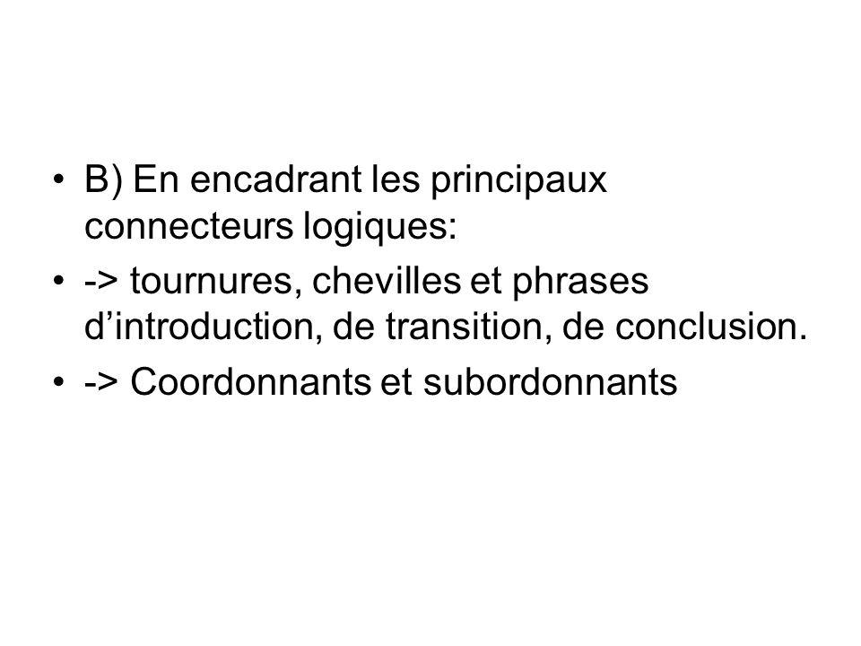 B) En encadrant les principaux connecteurs logiques: -> tournures, chevilles et phrases dintroduction, de transition, de conclusion.