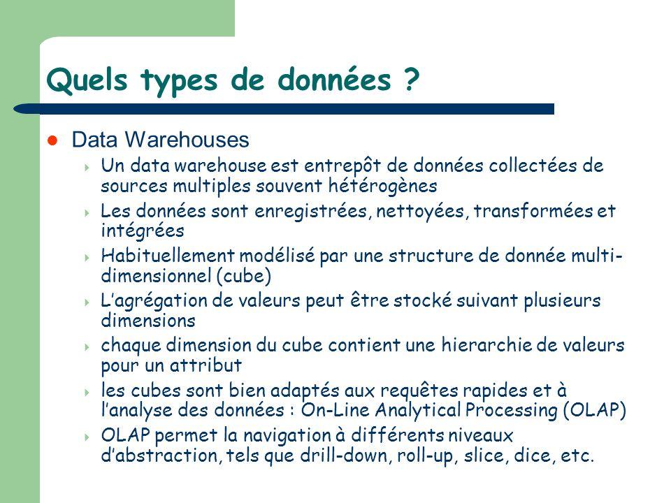 Quels types de données ? Data Warehouses Un data warehouse est entrepôt de données collectées de sources multiples souvent hétérogènes Les données son