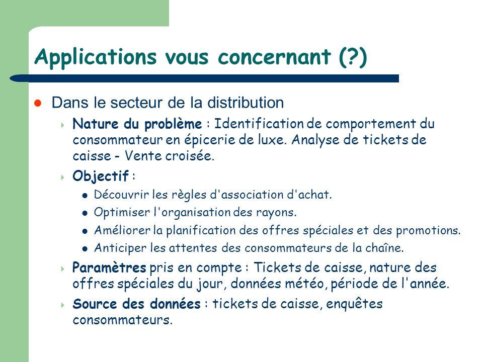 Applications vous concernant (?) Dans le secteur de la distribution Nature du problème : Identification de comportement du consommateur en épicerie de