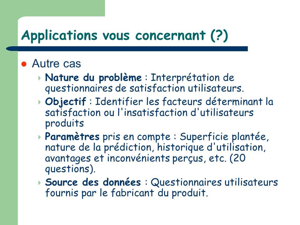 Applications vous concernant (?) Autre cas Nature du problème : Interprétation de questionnaires de satisfaction utilisateurs. Objectif : Identifier l