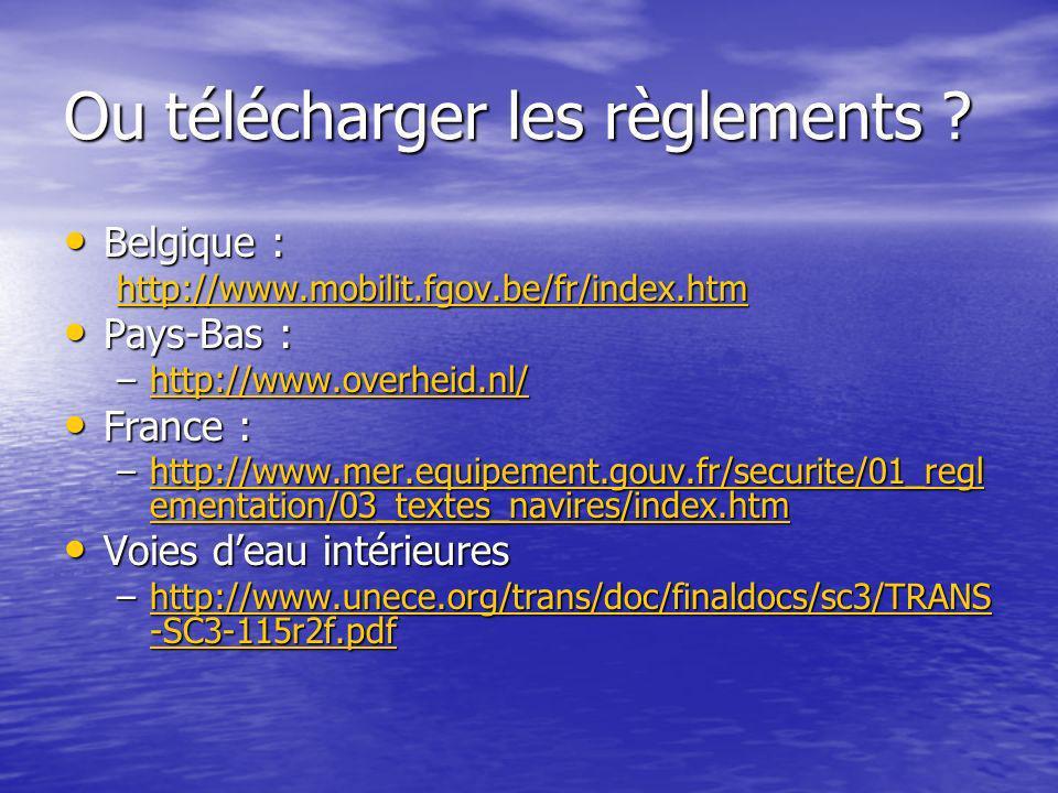 Ou télécharger les règlements ? Belgique : Belgique : http://www.mobilit.fgov.be/fr/index.htm Pays-Bas : Pays-Bas : –http://www.overheid.nl/ http://ww