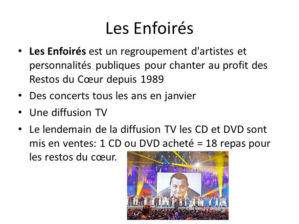 Les Enfoirés Les Enfoirés est un regroupement d'artistes et personnalités publiques pour chanter au profit des Restos du Cœur depuis 1989 Des concerts