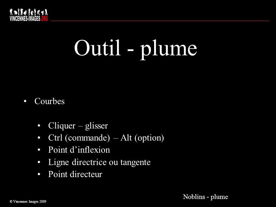 Outil - plume Courbes Cliquer – glisser Ctrl (commande) – Alt (option) Point dinflexion Ligne directrice ou tangente Point directeur © Vincennes Image